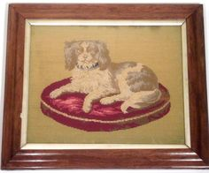 Large MAPLE FRAMED 19c Antique SPANIEL Woolwork SAMPLER, Fully Worked, VICTORIAN