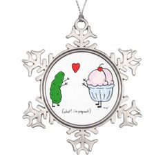Pickle Loves Ice Cream Pewter Ornament