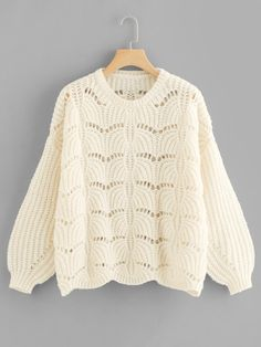 SheIn offers Lantern Sleeve Loose Knit Eyelet Sweater & more to fit your fashionable needs.Product name: [good_name] at SHEIN, Category: Sweaters, Price: [good_price] Sweater And Shorts, Sweater Jacket, Sweater Knitting Patterns, Sweater Weather, Pulls, Types Of Sleeves, Sweaters For Women, Women's Sweaters, Cardigans