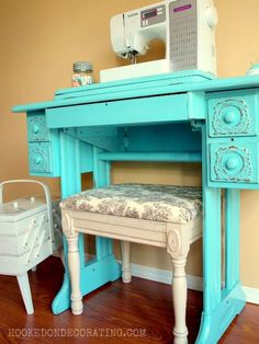 Im having a luv affair with vintage sewing pieces.so want that old style sewing box furniture-paint-inspiration Old Sewing Tables, Vintage Sewing Table, Turquoise Dresser, Turquoise Furniture, Furniture Makeover, Diy Furniture, Vintage Furniture, Painted Furniture, Craft Room Decor