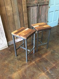 Reclaimed Wood Bar Stools, Industrial Stool, Reclaimed Barn Wood Stool With Hand Welded Steel Base and Eco-Friendly Finish - Set of 2 Diy Bar Stools, Industrial Bar Stools, Industrial Furniture, Steel Furniture, Painted Furniture, Diy Furniture, Modular Furniture, Repurposed Furniture, Furniture Makeover