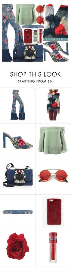 """""""Denim L👀k"""" by sanya-styleup ❤ liked on Polyvore featuring Roberto Cavalli, Jeffrey Campbell, Sans Souci, Miu Miu, ZeroUV, Manoush, Missguided, Etude House and Clinique"""