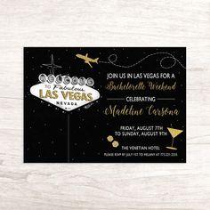 Celebrate In Las Vegas  Weekend Bachelorette Party Invitation