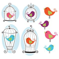 Cute Bird Cage Clipart  Great for by CollectiveCreation on Etsy, $5.20