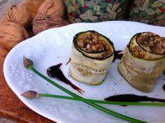 Zucchini Rolls filled with Nuts-Olive-Pesto Vegan Finger Foods, Zucchini Rolls, Avocado Egg, Vegan Vegetarian, Pesto, Buffet, Bbq, Cheesecake, Low Carb