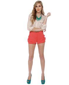coral ruffle shorts.