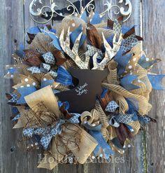 Chalkboard Deer Head Baby boy wreath Baby Shower Gift by Holiday Baubles Baby Door Wreaths, Baby Boy Wreath, Deco Mesh Wreaths, Man Shower, Baby Boy Shower, Baby Shower Gifts, Deer Nursery, Rustic Nursery, Baby Door Hangers