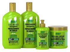 """Fortalecimento - Cafeína (shampoo e creme de pentear p/ a técnica """"shampoo leve"""" e condicionador e máscara para """"sem shampoo"""")"""