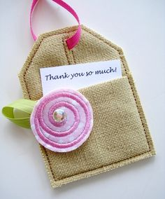 Embroidery Design for Machine Embroidery In-The-Hoop Tag with Pocket and Roses. $3.99, via Etsy.