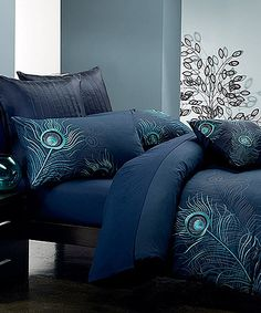 Navy Blue Peacock Feather Duvet Cover Set