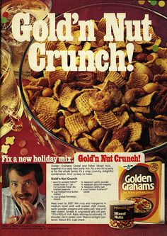 Gold'n Nut Crunch Snack Mix - this sounds really, really yummy! #snack #mix #cereal #party #appetizers #retro #food #vintage #ad #1970s