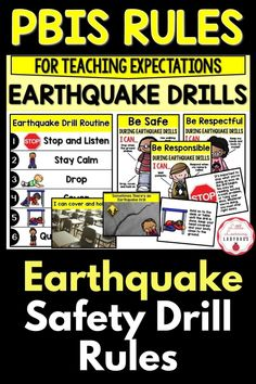 This earthquake drill rules and expectations resource is full of posters and materials to accompany the teaching of your school's PBIS rules. I like to use these materials from the very first day of school to teach my students the right way to follow our earthquake drill safety procedure. From finding cover and holding on, to staying calm, these materials are sure to teach your students how to be safe during an earthquake drill! Classroom Expectations Poster, Voice Level Charts, Voice Levels, Cue Cards, I Can Statements, Substitute Teacher, Family Support, Positive Behavior, Student Motivation