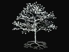 Wire Tree Sculpture - beaded tree - wedding cake topper