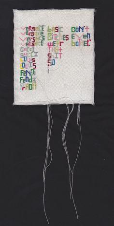 Sharela May Bonfield   Versace, Versace ... Gucci, Gucci   cotton + silk organza + embroidery floss + thread   2014