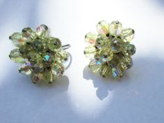 Aurora Borealis Vintage Clip Earrings Ice Earrings  Green AB by UnderTheBaobobTree on Etsy