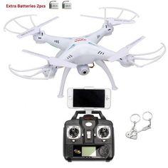 Blueskysea Free Gift Keychain + Syma X5SW Wifi FPV Real-time 2.4G Newest RC Quadcopter Drone UAV RTF UFO with 2MP HD Camera Latest Version (White,Left Hand Throttle) + Extra 2pcs Batteries 3.7V 500mAh Li-po