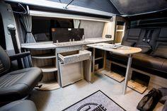 The Graham's (LWB) Traditional 'Lux' Camper Conversion - New Wave Custom Conversions Vw Transporter Conversions, Vw Camper Conversions, Vw Transporter Van, Vw T5 Interior, Campervan Interior, Campervan Ideas, Vw T5 Caravelle, T5 Camper, Land Rover Defender