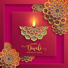 Illustration about Happy Diwali festival card with gold diya patterned and crystals on paper color Background. Illustration of cultural, deepavali, diwali - 125945777 Happy Diwali Photos, Diwali Pictures, Happy Diwali 2019, Diwali Wishes In Hindi, Diwali Wishes Quotes, Diwali Greeting Cards, Diwali Greetings, Indian Festival Of Lights, Festival Lights
