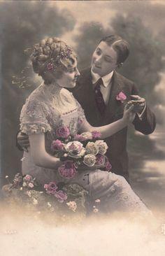 Romantische Franse liefhebbers briefkaart. Vintage liefde kaart.
