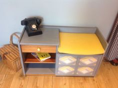 telephone table nathan upcycled mid century mustard and grey original