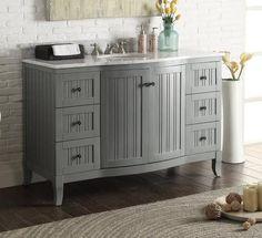 "49"" Italian Carrra Marble Counter Top Algar Bathroom Sink Vanity  # 9717CK  (Gray) - Chans Furniture - 1"