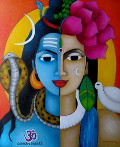 Radha Krishna Print Giclee print of my original painitng. A beautiful piece of Indian contemporary artwork to give a traditional touch to any room. Mix of bold and bright color strokes add an extra effect to the painting. Highlight of this artwork is free flowing strokes which Ganesha Painting, Lord Shiva Painting, Ganesha Art, Indian Art Paintings, Modern Art Paintings, Contemporary Artwork, Acrylic Paintings, Oil Pastel Drawings, Cool Art Drawings