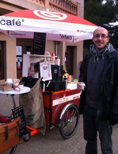 Coffee triporteurs in France  Here are two enterprises who sell coffee from tricycles:   Pousse-Cafe' in Nantes uses an old-fashioned Dutch bakfiets    Mon Premier Vélo in Montpelier, run by Elodie Vezies, has a Christiania tricycle which she parks inside or outside a local cinema.