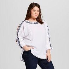 Women's Plus Size White Embroidered Peasant Top - Ava & Viv™