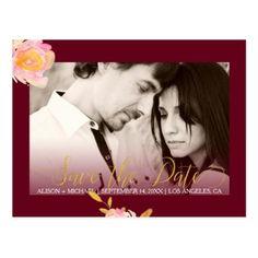 #savethedate #postcards - #Floral burgundy photo autumn wedding save date postcard