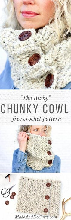 This free crochet cowl pattern uses the herringbone double crochet stitch to create a deliciously chunky scarf with a modern look. Quick project!