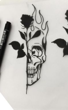 Dope Tattoos, Skull Tattoos, Mini Tattoos, Tatoos, Tattoo Design Drawings, Skull Tattoo Design, Tattoo Designs, Rosen Tattoos Schulter, Art Inspired Tattoos
