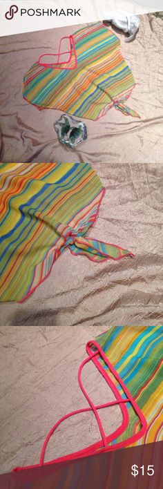 Summery Striped Sheer Top V neck front and back with criss cross string on back. Sheer striped blouse with yellow, green, blue, orange, coral, white, and purple. Tie at bottom in front and elastic at bottom in the back. Tag has been cut out, but otherwise is completely intact. Fits XS or S. Tops Blouses