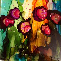 "Shiny Happy Flowers -Alcohol Ink on ceramic tile (6"" x 6"")"