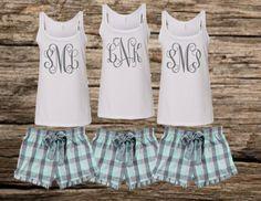 monogrammed pajamas, bridal party pajamas, personalized pajamas, monogrammed tank, monogrammed shorts, monogrammed pjs
