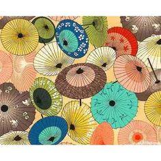 Tecido Importado Patchwork Artesanato Sombrinhas Japonesas