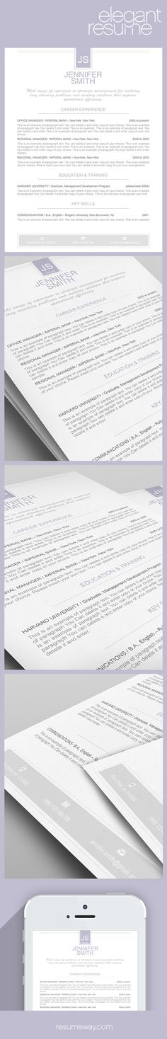 Elegant Resume Template 110460 - Premium line of Resume & Cover Letter Templates. Easy edit with MS Word, Apple Pages - #Resume, #Resumes - From $9.95