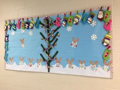 Bulletin board for Christmas. Owls made from scrapbook paper and border from owl winter duct tape.