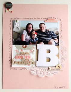 Layout by Pamela Lee via Studio Calico blog. Love the confetti envelope as part of a grid design.