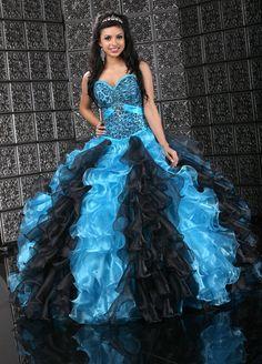 Vestidos de 15 color azul con negro