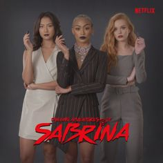 Chilling Adventures of Sabrina. Now Streaming on Netflix. Chilling Adventures of Sabrina. Weird Sisters, Batwoman, Psylocke, Sabrina Spellman, Female Fighter, Netflix Streaming, Archie Comics, Music Film, Movies Showing