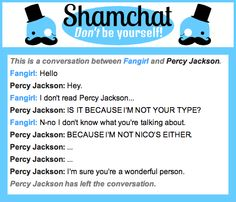A conversation between Percy Jackson and Fangirl