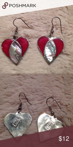 "❤️ SILVER ABALONE HEART EARRINGS FINAL $! Pre-owned. Sterling silver dangling heart earrings on sterling silver wires with strip of abalone shell in center. Very shiny! Each heart measures 1"" x 1"". unknown Jewelry Earrings"