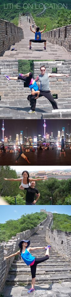 #litheinstructor Sophie Oh showed off some mad #litheonlocation skills on the Great Wall, in Hangzhou, The Forbidden City, and Shanghai, China! #widesecond