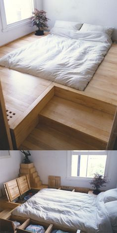 "Oliver Peake: Japanese Bed ""This was an interesting commission. The client wanted an entirely sunken bed with hidden storage and invisible heating!"" 바닥을 열면 수납공간할수있게 해서 깔끔하다고 생각이든다"