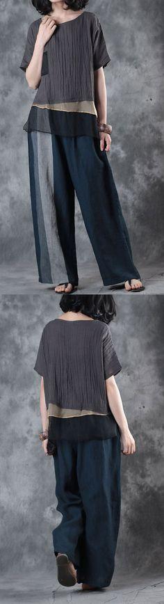 original brown summer silk blouse loose linen