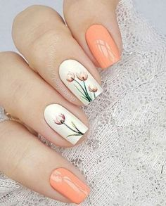 Flower Nail Designs for Spring and Summer 2019 - Nageldesign 2018 Flower Nail Designs, Nail Designs Spring, Nail Art Designs, Nails Design, Spring Design, Nails With Flower Design, Tulip Nails, Flower Nails, Spring Nail Art