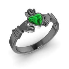 Heart-Cut Emerald Ring in 14K Black Gold. Black gold and emerald Claddagh ring? I would melt.