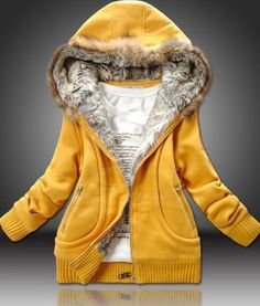 Casual Artificial Wool Embellished Hooded Zipper and Pocket Design Cotton Coat