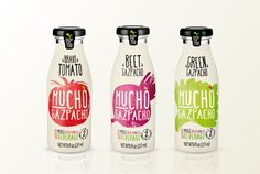 Mucho Gazpacho vegetable drink. Stunning type and illustration work!