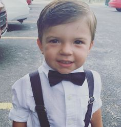 Kids fashion! Handsome toddler in his bow tie and suspenders!